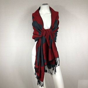 Scarf or wrap reversible red and teal
